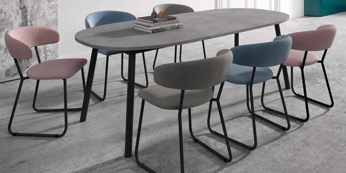 Ensemble tafel Rialto en stoelen Elba