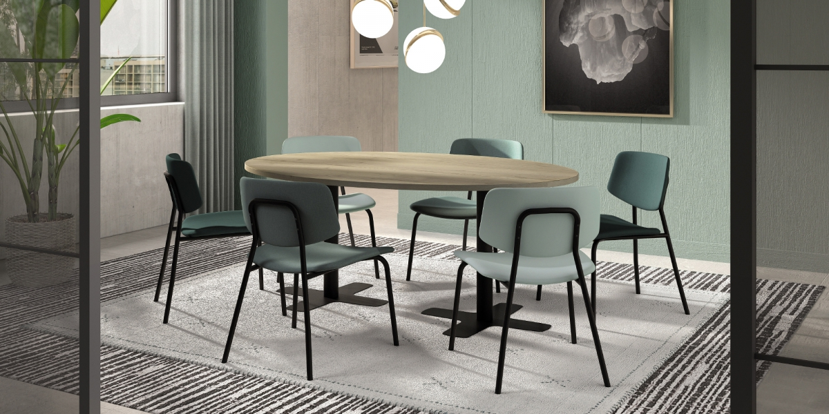 "Ensemble tafel Spinner2 en stoelen ""Lago Easy Chair"""